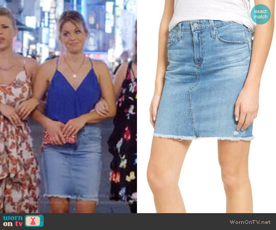 AG Jeans Erin Denim Miniskirt worn by DJ Tanner-Fuller (Candace Cameron Bure) on Fuller House