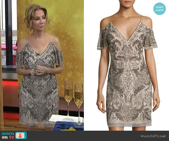 Beaded Cold-Shoulder Cocktail Dress by Aidan Mattox worn by Kathie Lee Gifford on Today