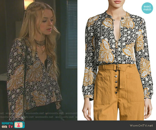 'Lox' Silk Top by A.L.C. worn by Claire Brady (Olivia Rose Keegan) on Days of our Lives