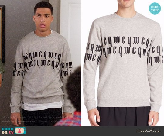 McQ Alexander McQueen Clean Crewneck Sweatshirt worn by Marcus Scribner on Blackish