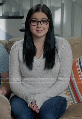 Alex's speckled v-neck sweater on Modern Family
