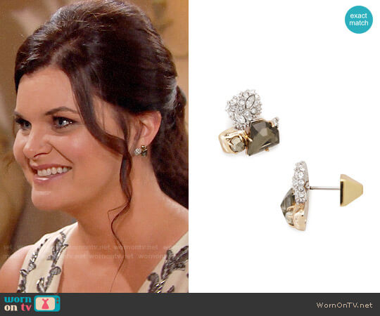 Alexis Bittar Stone Cluster Stud Earrings worn by Heather Tom on The Bold & the Beautiful