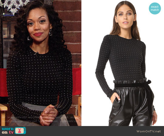 Alice + Olivia Britney Studded Bodysuit worn by Hilary Curtis (Mishael Morgan) on The Young & the Restless