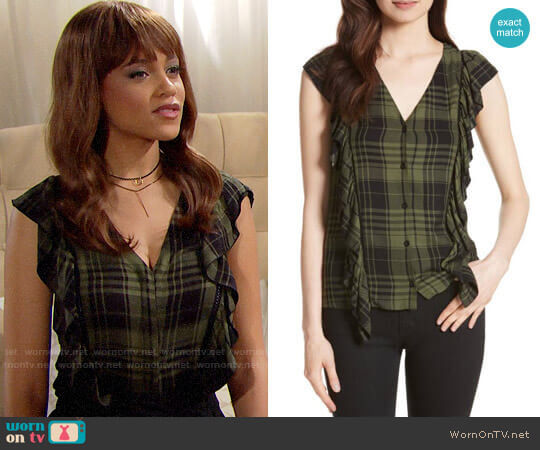 Alice + Olivia Janet Top worn by Nicole Avant (Reign Edwards) on The Bold & the Beautiful