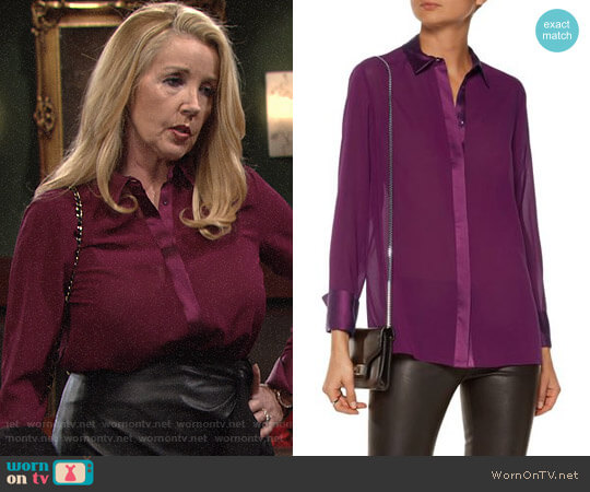 Alice + Olivia Wyatt Blouse worn by Melody Thomas-Scott on The Young & the Restless