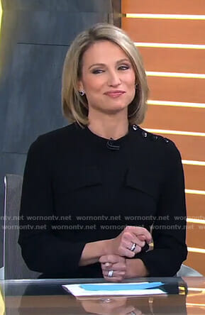 Amy's black long sleeve dress on Good Morning America