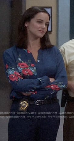 Amy's blue and pink floral blouse on Brooklyn Nine-Nine