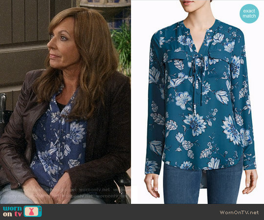 a.n.a. Lace Up Blouse in Legion Blue Floral worn by Allison Janney on Mom
