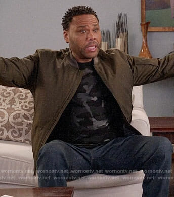 Andre's black camo t-shirt and green bomber jacket on Black-ish