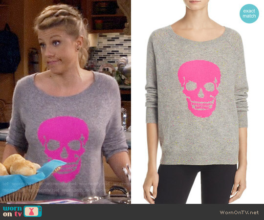 Aqua Cashmere Skull Donegal Sweater worn by Stephanie Tanner (Jodie Sweetin) on Fuller House