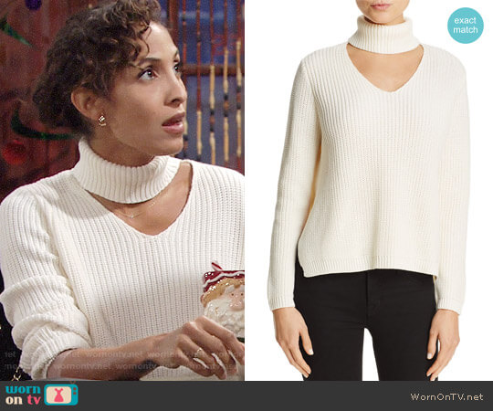 Aqua Cutout Turtleneck Sweater worn by Christel Khalil on The Young & the Restless