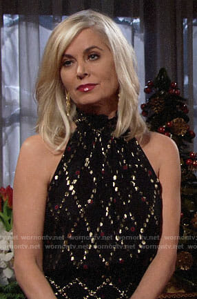 Ashley's black and gold Christmas dress on The Young and the Restless
