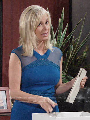 Ashley's blue mesh shoulder dress on The Young and the Restless
