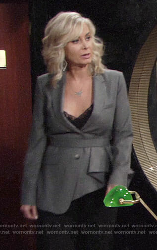 Ashley's grey asymmetric pleated blazer on The Young and the Restless