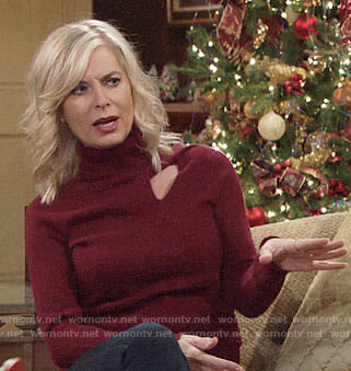 Ashley's red turtleneck sweater with cutout on The Young and the Restless