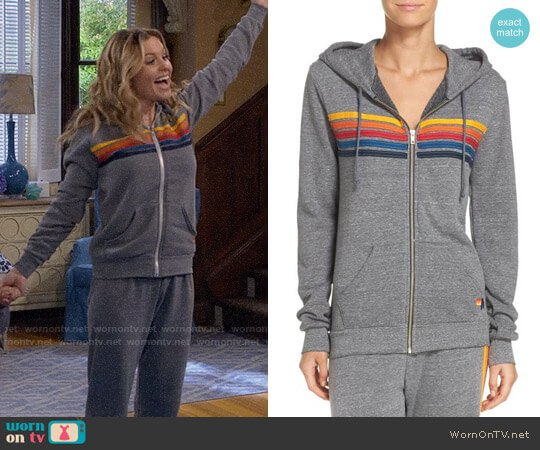 Aviator Nation 5-Stripe Zip Hoodie worn by Candace Cameron Bure on Fuller House