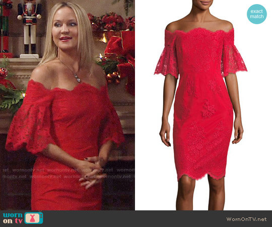 Badgley Mishka Lace Off-the-Shoulder Flutter-Sleeve Cocktail Dress worn by Sharon Case on The Young & the Restless