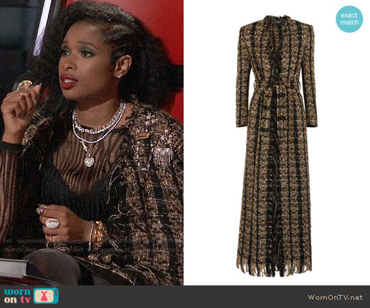 Balmain Belted metallic bouclé-tweed coat worn by Jennifer Hudson on The Voice