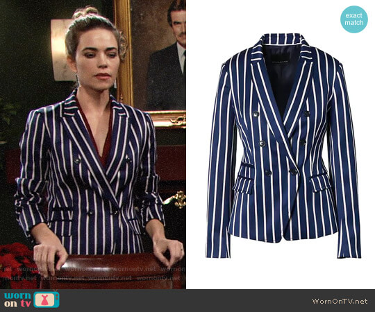 Banana Republic Double-Breasted Fit Stripe Blazer worn by Amelia Heinle on The Young & the Restless