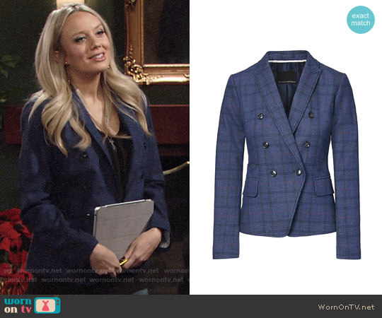 Banana Republic Double Breasted-Fit Plaid Blazer worn by Melissa Ordway on The Young & the Restless