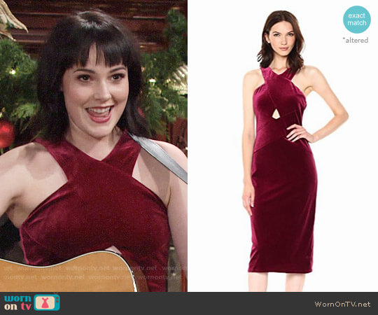 Bcbgmaxazria Maren Velvet Dress worn by Cait Fairbanks on The Young & the Restless