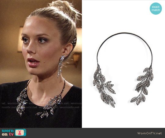 Bcbgmaxazria Pave Stone Leaf Collar worn by Melissa Ordway on The Young & the Restless