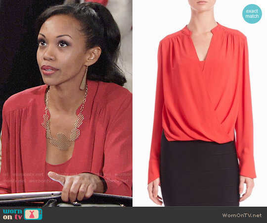 Bcbgmaxazria Jaklyn Blouse  worn by Hilary Curtis (Mishael Morgan) on The Young & the Restless