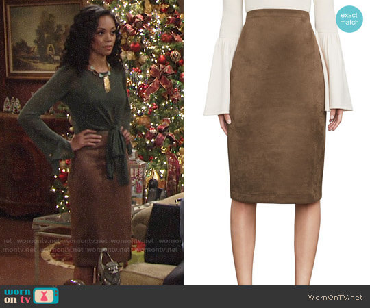 Bcbgmaxazria Lyric Faux Suede Skirt worn by Mishael Morgan on The Young & the Restless