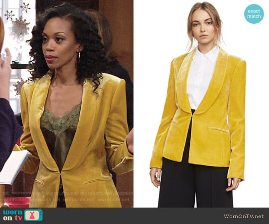 Bcbgmaxazria Phoenix Velvet Tuxedo Blazer worn by Hilary Curtis (Mishael Morgan) on The Young & the Restless