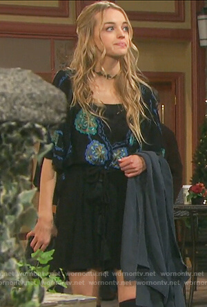 Claire's black floral embroidered dress on Days of our Lives