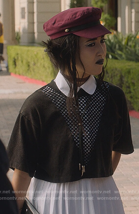 Nico's black eyelet cutouts top on Marvel's Runaways