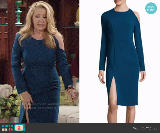 Black Halo Covina Dress in Poseidon worn by Nikki Reed Newman (Melody Thomas-Scott) on The Young & the Restless