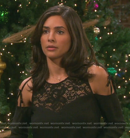 Gabi's black lace cold shoulder top on Days of our Lives