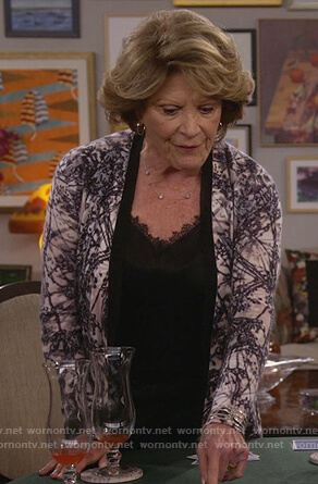 Judy's black lace cami and print cardigan on 9JKL