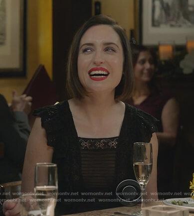 Jen's black ruffle dress on Life in Pieces