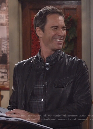 Will's leather moto jacket and plaid shirt on Will and Grace