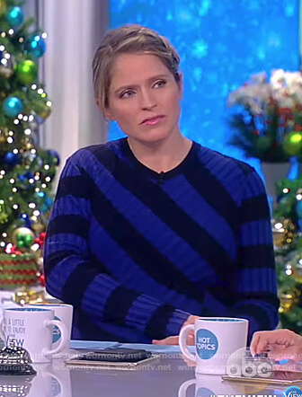 Sara's blue and black striped ribbed dress on The View