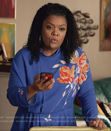 Courtney's maroon floral embroidered bomber jacket on The Mayor