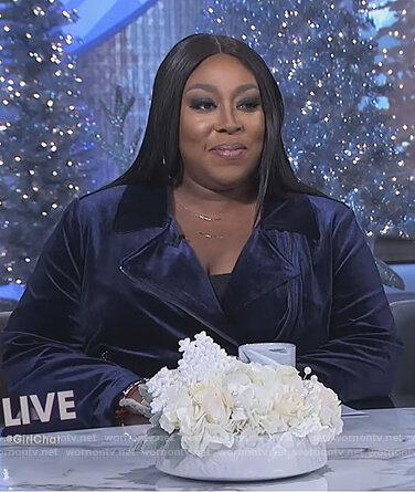 Loni's navy velvet moto jacket on The Real