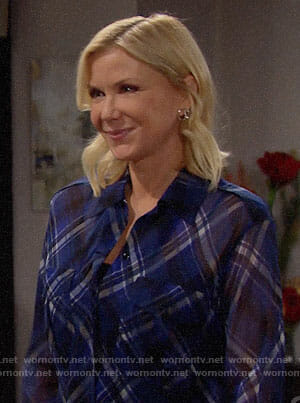Brooke's blue plaid shirt on The Bold and the Beautiful