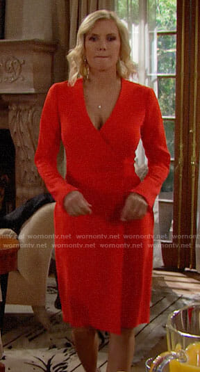 Brooke's red wrap dress on The Bold and the Beautiful