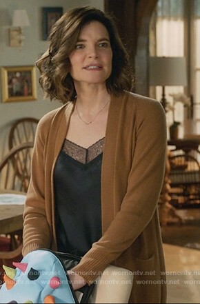 Heather's black lace trim cami and camel cardigan on Life in Pieces