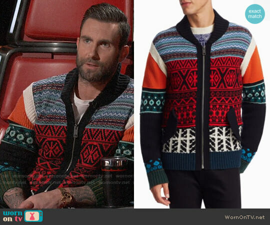 Burberry Carnell Mixed-Knit Zip Cardigan worn by Adam Levine  on The Voice