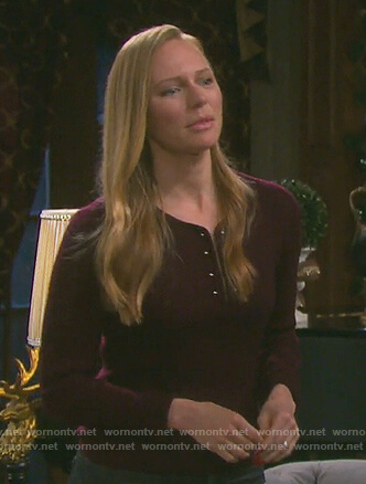 Abigail's burgundy barbell top on Days of our Lives