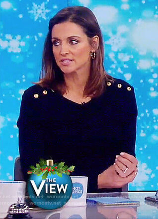 Paula's black button embellished sweater on The View