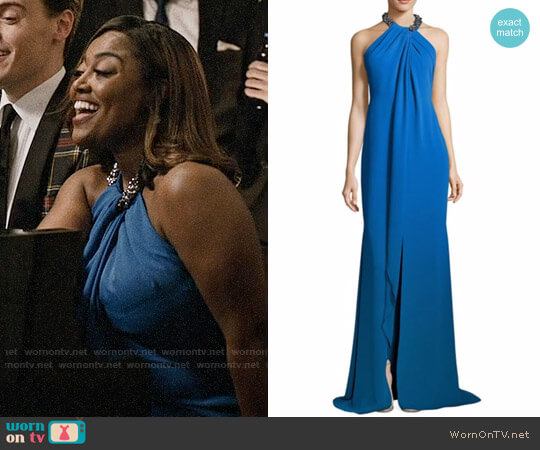 Carmen Marc ValvoToga Embellished Neck Gown worn by Patina Miller on Madam Secretary