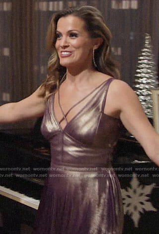 Chelsea's purple metallic NYE dress on The Young and the Restless