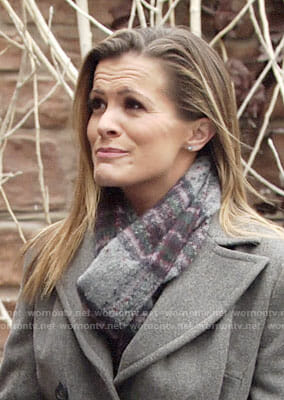 Chelsea's grey and purple plaid scarf on The Young and the Restless