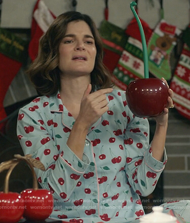Heather's cherry print pajama's on Life in Pieces