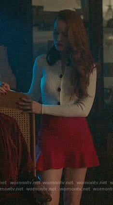 Cheryl's white cardigan with black fur collar on Riverdale